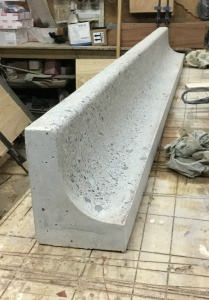 mould cast concrete curved kitchen splash back