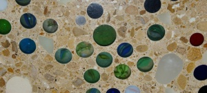 concrete worktop decorated with marbles